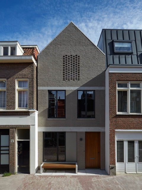 New brick terrace house in Amsterdam.