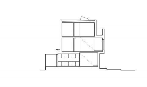 New build end of terrace house on a triangular site. The house is based in-between Blackheath and Lewisham, next to the river Quaggy. Self-build project by 31/44 architects.