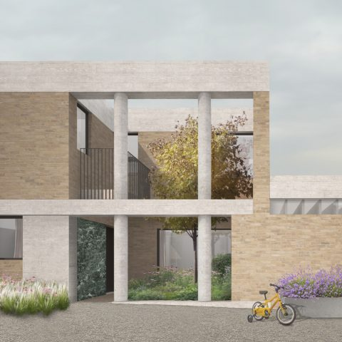 Four large detached mews houses arranged around a courtyard. The project is based near blackheath/ Greenwich, London. 31/44 architects.